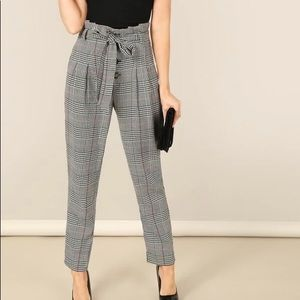 MUST GO SHEIN High Waisted Paper-bag Plaid Pants S